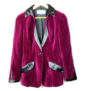 Vintage Thierry Mugler Velvet Satin Purple Blazer